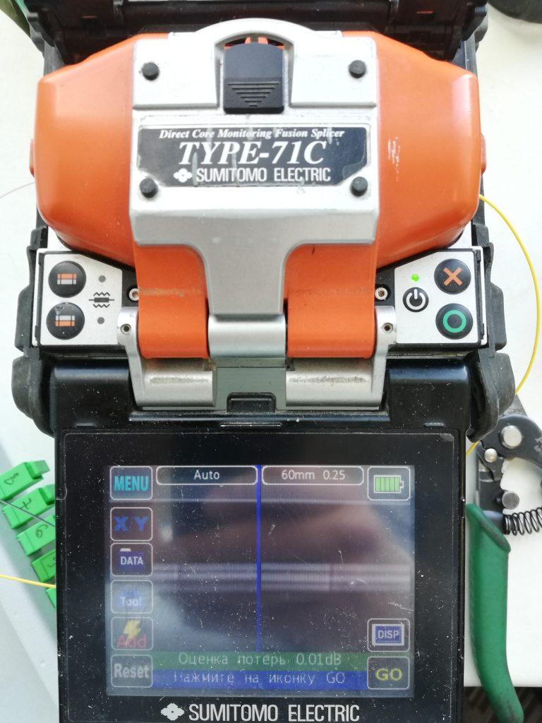 Результат сварки оптического волокна в сварочном аппарате Sumitomo type-71c